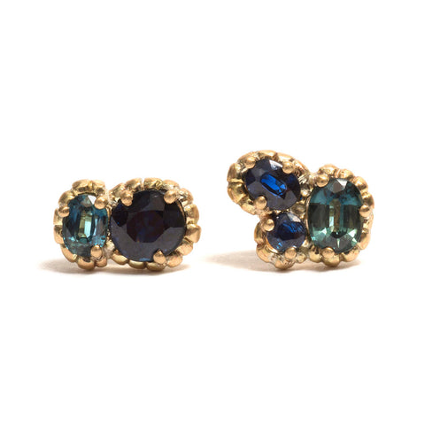 Tidal Rock Pool Sapphire Stud Earrings by Julia Storey