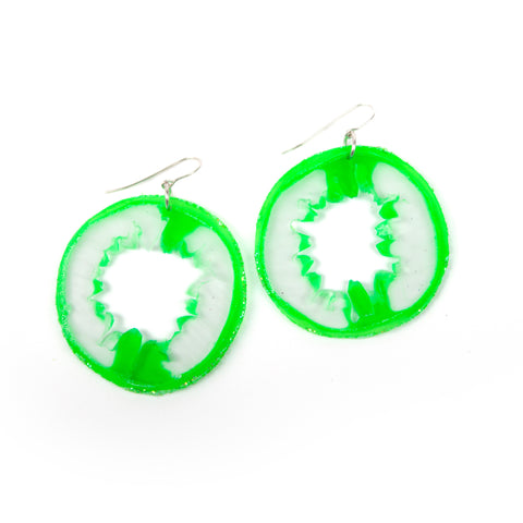 Small Light Green Geode Slice Earrings