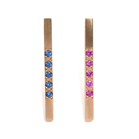 Pink and Blue Bar Earrings