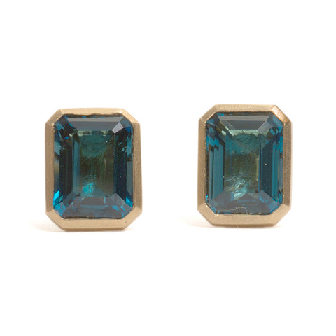 Emerald Cut Topaz Stud Earrings
