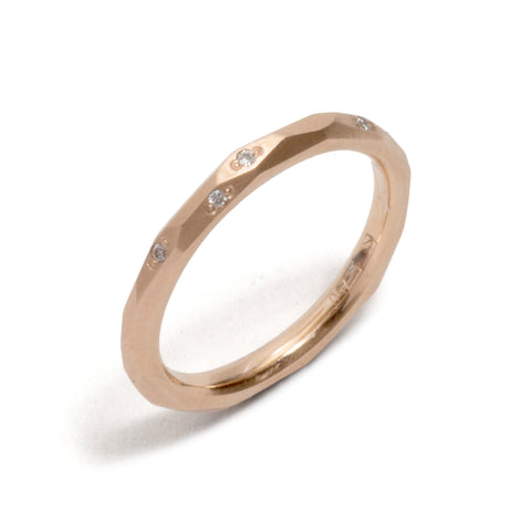 Rose Gold Faceted Diamond Wedding Ring