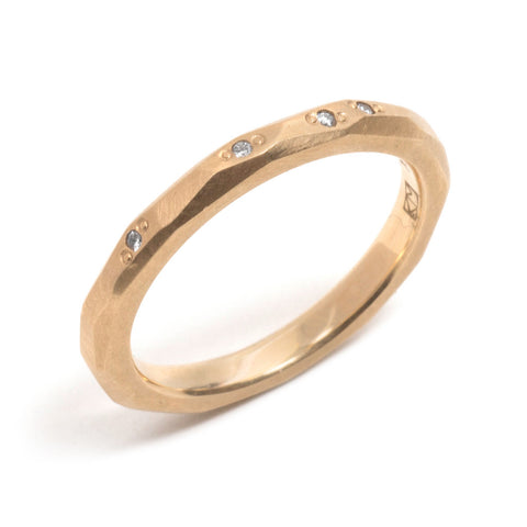Yellow Gold Faceted Diamond Wedding Ring