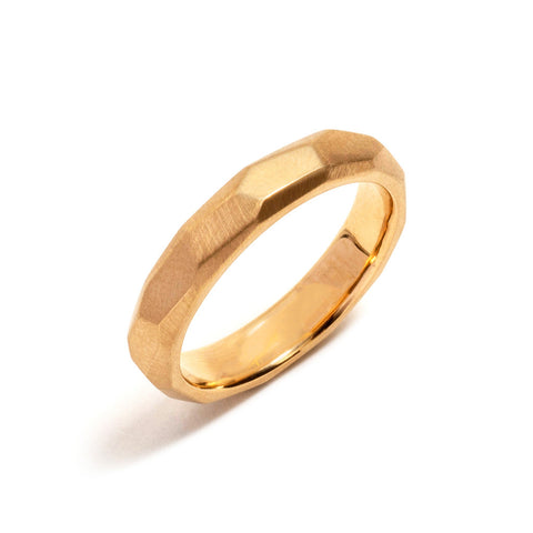 Faceted Gold Wedding Ring