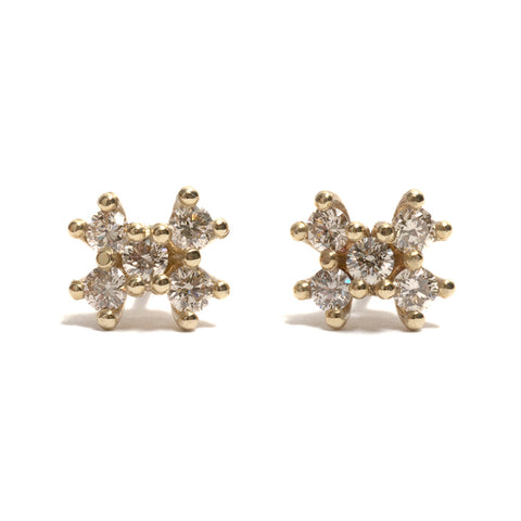 Five Champagne Diamond Stud Earrings by Krista McRae