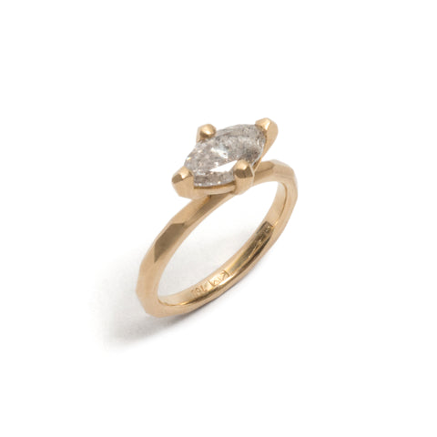 Salt & Pepper Marquise Ring
