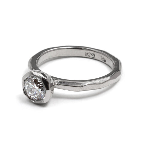 Cup Setting White Gold Engagement Ring