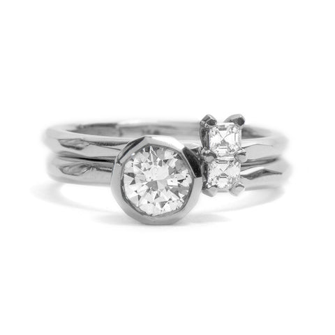 White Gold Asscher Cut Diamond Soul Mates Ring