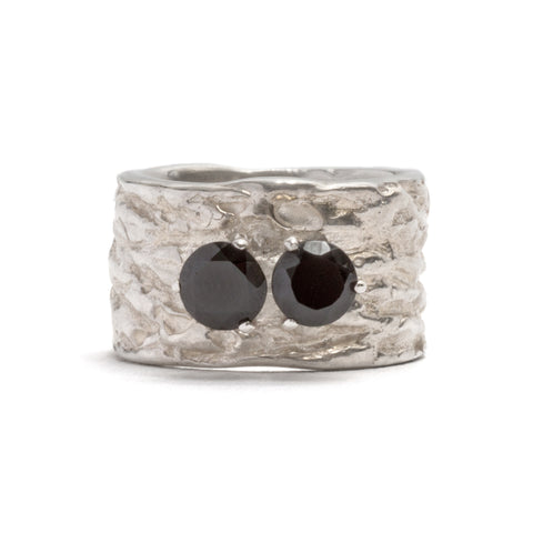Gorilla Skin Double Onyx Ring by Lisa Roet