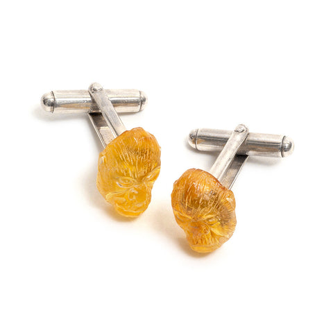 Gorilla Head Amber Cufflinks by Lisa Roet