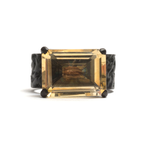 Orangutan Skin Rectangular Citrine (Black) Ring by Lisa Roet