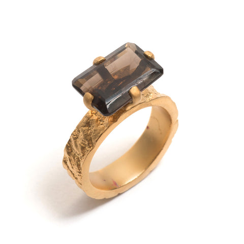 Smokey Quartz Orangutan Skin Ring