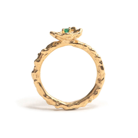Yellow Gold and Emerald Cusp Ring