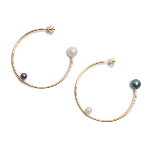 Big and Little Asymmetrical Pearl Hoop Earrings