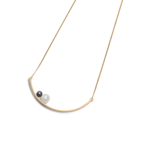 Big and Little Pearl Curve Pendant by Melanie Katsalidis