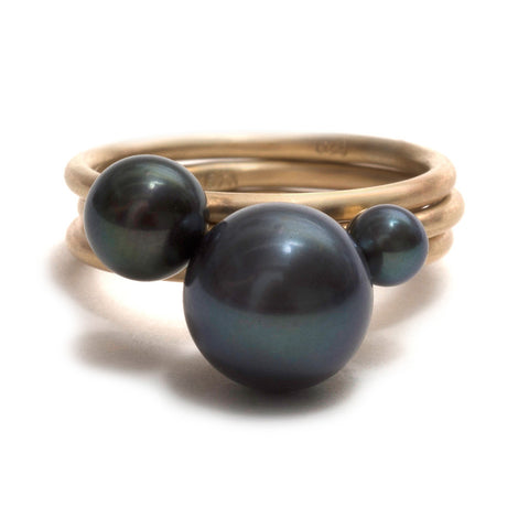 Black Pearl Stacking Ring by Melanie Katsalidis
