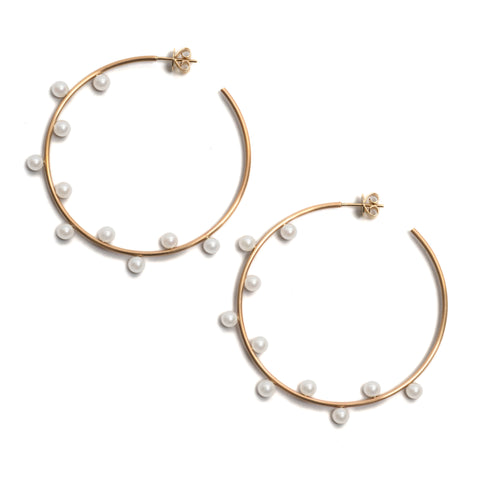 Dancing Pearl Hoop Earrings by Melanie Katsalidis