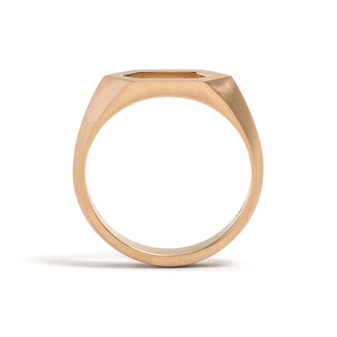 Elongated Hexagonal Signet Ring