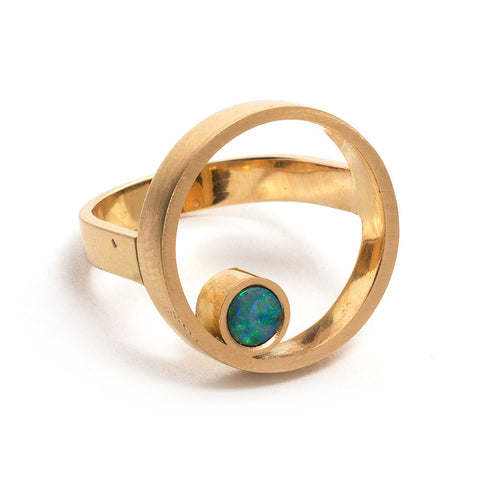 Gold Opal Double Circle Ring by Melanie Katsalidis