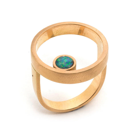 Gold Opal Double Circle Ring