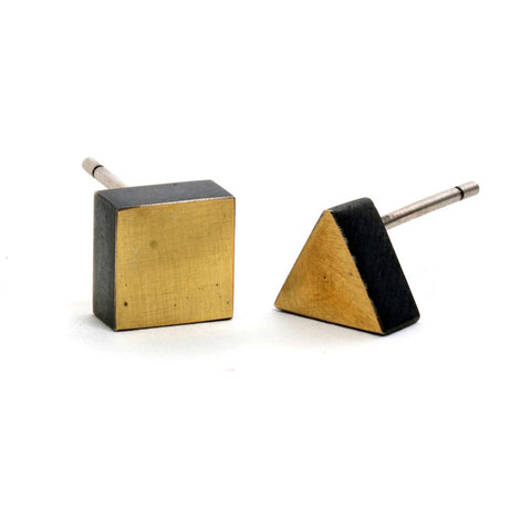 Golden Element Triangle Square Stud Earrings