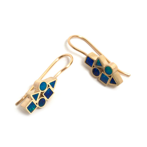Golden Opal Element Drop Earrings
