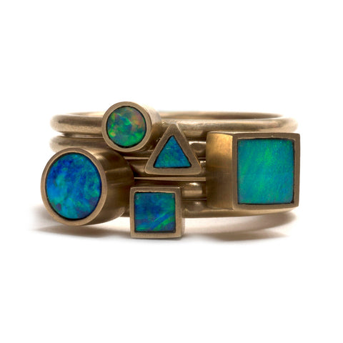 Golden Opal Element Stacking Ring by Melanie Katsalidis