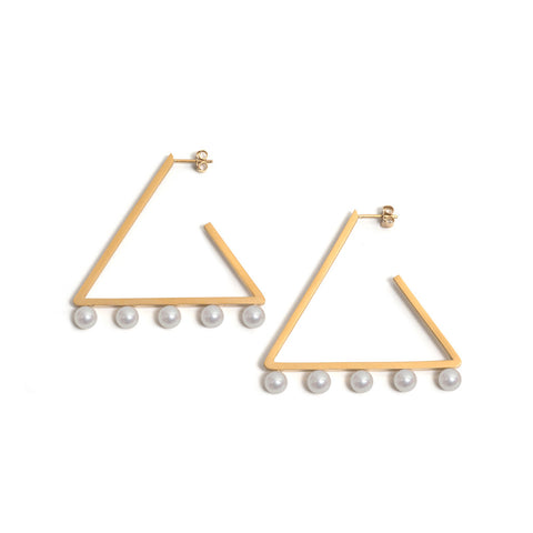 Golden Triangle Five Pearl Earrings