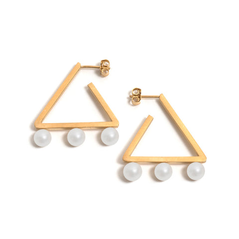 Golden Triangle Three Pearl Earrings
