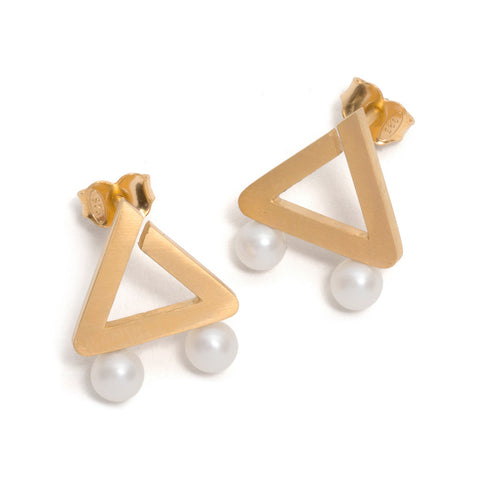 Golden Triangle Two Pearl Earrings