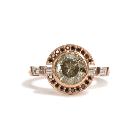 Green Diamond Open Halo Ring by Melanie Katsalidis