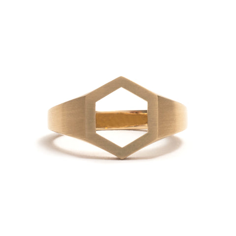 Hexagonal Signet Ring by Melanie Katsalidis