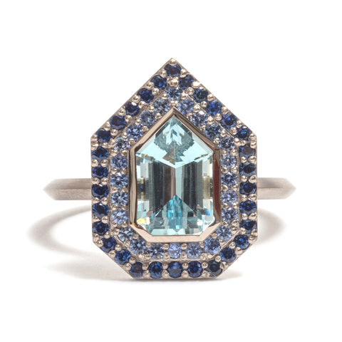 Aquamarine and Double Sapphire Halo Ring by Melanie Katsalidis