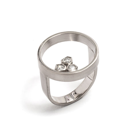 Freeform Rose Cut Diamond Circle Ring