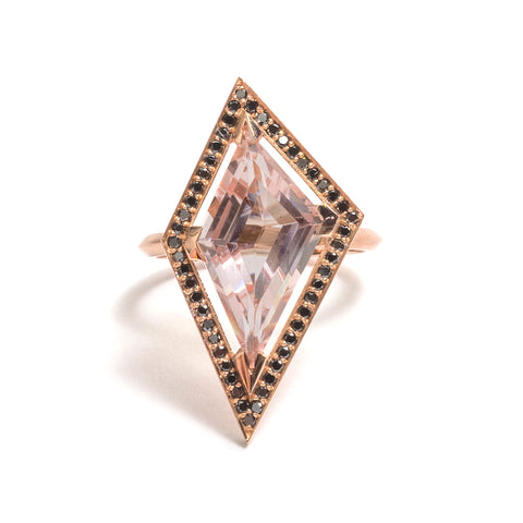 Morganite and Black Diamond Elevate Halo Ring by Melanie Katsalidis