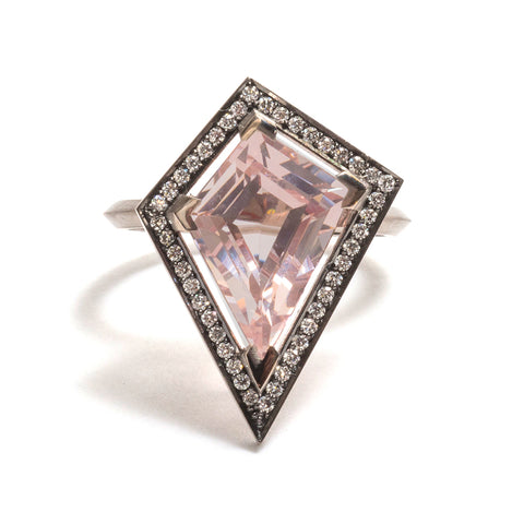 Morganite and White Diamond Elevate Halo Ring by Melanie Katsalidis