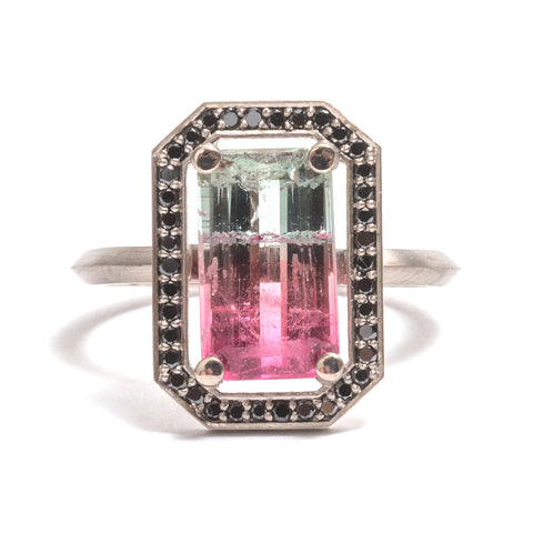 Watermelon Tourmaline Four Claw Black Diamond Halo Ring by Melanie Katsalidis