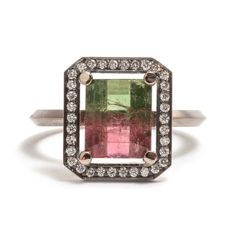 Watermelon Tourmaline Four Claw White Diamond Halo Ring by Melanie Katsalidis