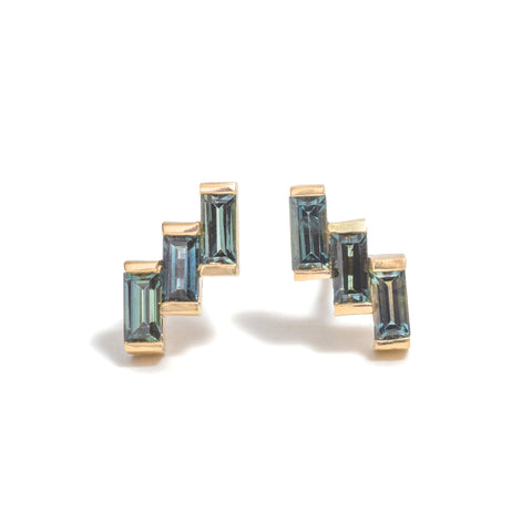 Triple Sapphire Baguette Earrings