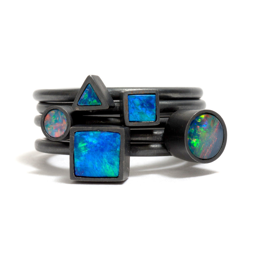 Oxidised Opal Element Stacking Ring