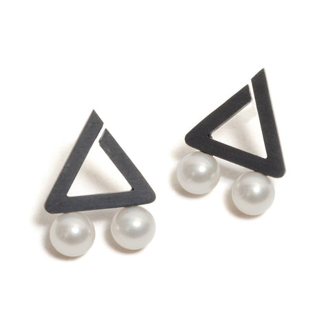 Oxidised Triangle Two Pearl Earrings