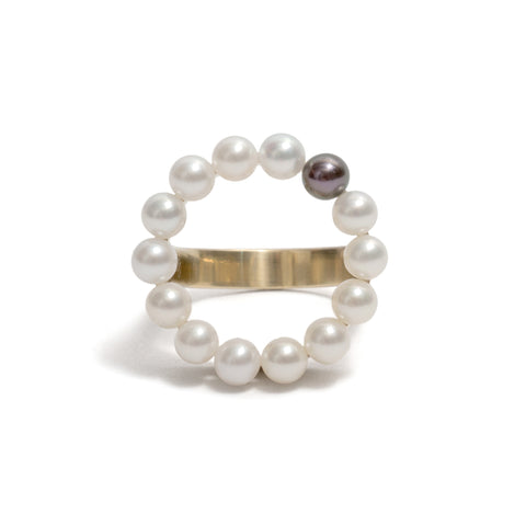 Pearl Circle Ring by Melanie Katsalidis