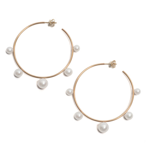 Pearl Extravert Hoop Earrings by Melanie Katsalidis