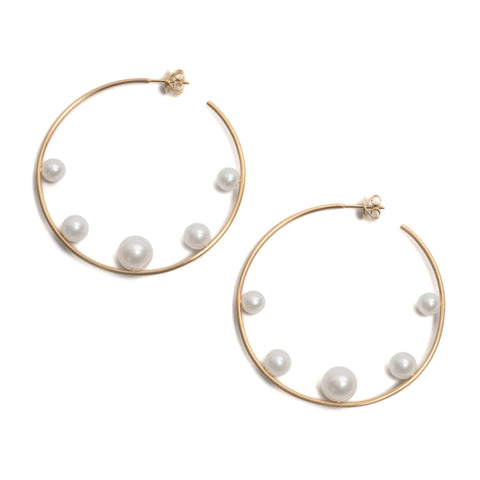 Pearl Introvert Hoop Earrings by Melanie Katsalidis