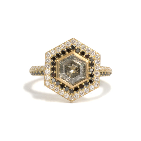 Salt and Pepper Diamond Double Halo Ring by Melanie Katsalidis