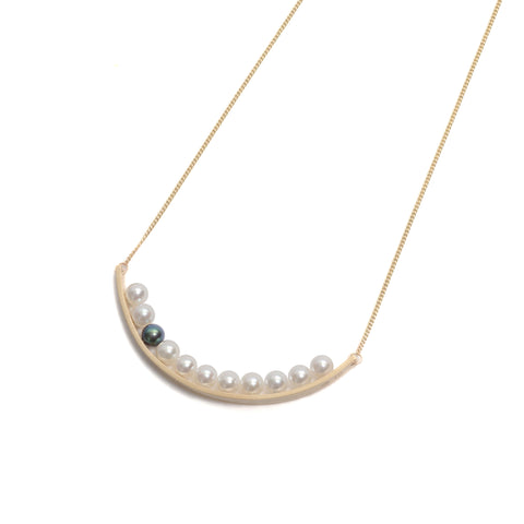 Side By Side Pearl Curve Pendant