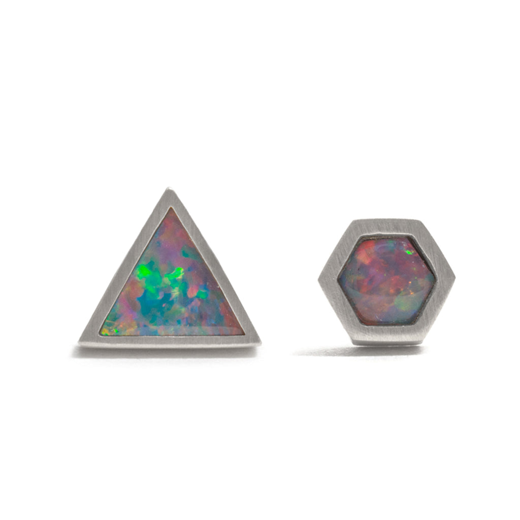 Silver Opal Element Single Stud Earrings