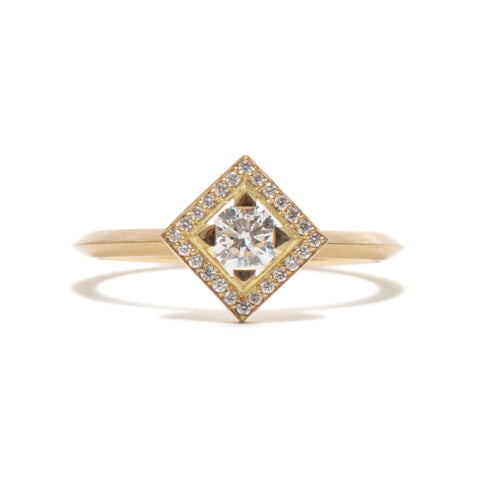 Square Element Diamond Halo Ring