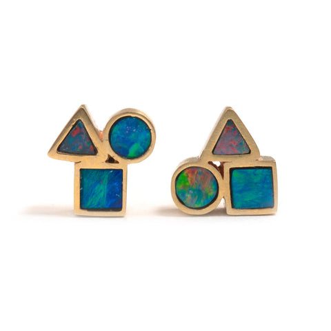 Tiny Golden Opal Element Stud Earrings by Melanie Katsalidis
