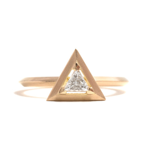 Triangle Diamond Element Engagement Ring