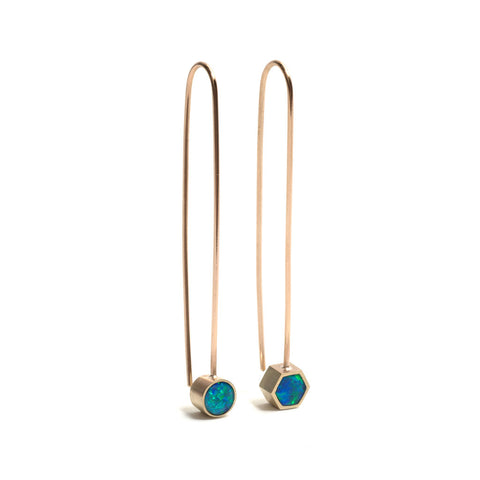 Asymmetric Opal Drop Earrings by Melanie Katsalidis